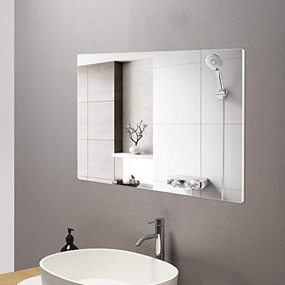 4EVER BEAUTI Bathroom Mirror ,Vanity Mirror for Wall with Thin Silver Metal Frame 32x24x0.7, Decorative Wall Mirrors for Living Room,Bedroom,Rounded Corner Hangs Horizontal Or Vertical