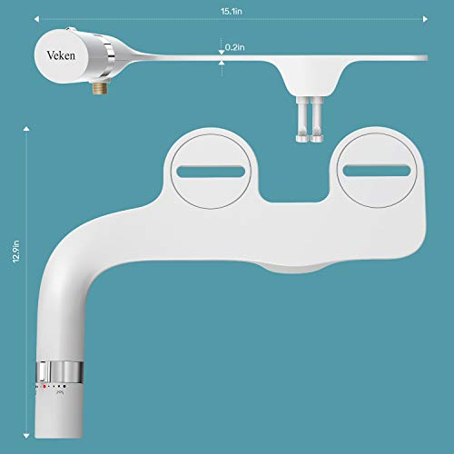 Veken Ultra-Slim Bidet, Non-Electric Dual Nozzle (Posterior/Feminine Wash) Fresh Water Sprayer Bidet for Toilet, Adjustable Water Pressure Bidet Seat Attachment with Brass Inlet