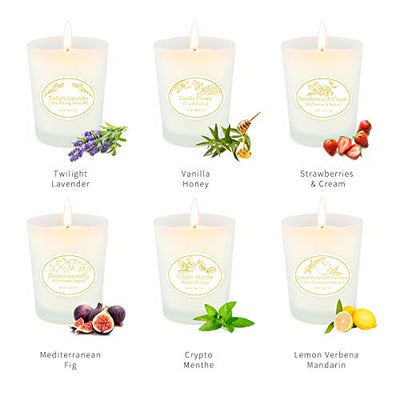 Scented Candles Lavender Fragrance Set, 6 Pack Soy Wax Aromatherapy Candles, Essential Oils Gift Candles for Women Girl Bath Works Candles Birthday and Stress Relief Home Decor