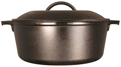 Lodge 5 Quart Cast Iron Dutch Oven. Pre-Seasoned Pot with Lid and Dual Loop Handle