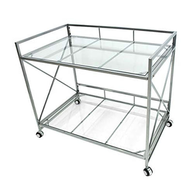 Christopher Knight Home Danae Industrial Modern Iron and Glass Bar Cart, Silver