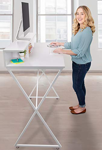 Stand Steady Joy Desk | Modern Standing Workstation with Storage Cubbies | Pretty Standing Desk w/Spacious Desktop | Multifunctional Table - Great for Home, Office & More (White Wood Grain / 48 x 42)