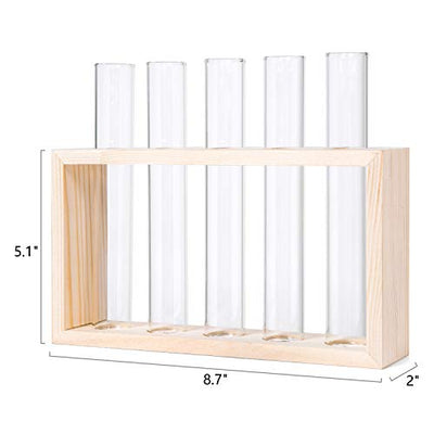 Mkono Wall Hanging Glass Planter Propagation Station Modern Flower Bud Vase in Burlywood Stand Rack with 5 Test Tube Tabletop Terrarium for Propagating Hydroponics Plants, Home Office Decoration