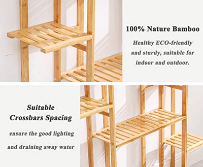Bamboo 9 Tier 17 Potted Plant Stand Rack Multiple Flower Pot Holder Shelf Indoor Outdoor Planter Display Shelving Unit for Patio Garden Corner Balcony Living Room