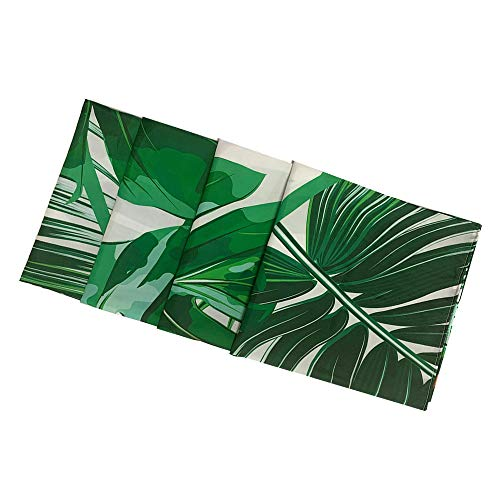 IcosaMro Palm Shower Curtain for Bathroom with Hooks, Tropical Leaf Jungle Leaves Decorative Long Cloth Fabric Shower Curtain Bath Decorations- 71Wx72L, Green