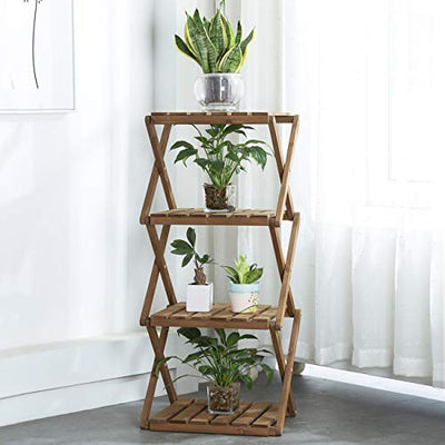 Sunnyglade 4-Tier Foldable Flower Rack Plant Stand Wood Shelf Multipurpose Utility Storage Rack Books Picture Frames Shelves for Yard Garden Patio Balcony Bedroom