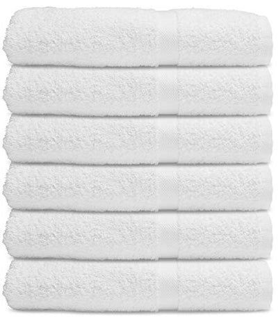 Wealuxe Cotton Bath Towels - 24x50 Inch - Lightweight Soft and Absorbent Gym Pool Towel - 6 Pack - White
