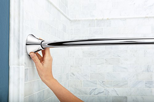 Moen CSR2172CH 5-Foot Adjustable Tension Single Curved Shower Curtain Rod, Chrome