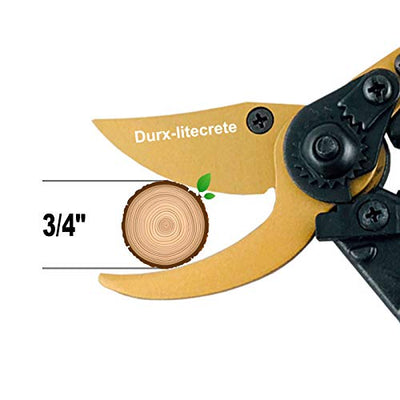 "Durx-litecrete 8"" Titanium Rotating Bypass Heavy Duty Pruning Shears, Garden Shears, Clippers, Trimmers, Hand Pruner, Protective Handle Design, with Soft Cushion Grip Handle Save Strain on Your Wrist"