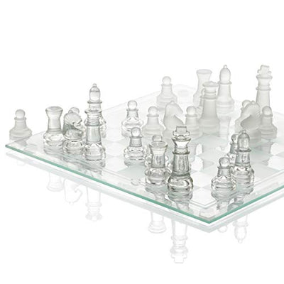 "SRENTA 10"" Fine Glass Chess Game Set, Solid Glass Chess Pieces with Padded Bottom, Crystal Chess Board Youth Adults Play Set"