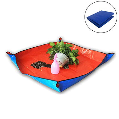 Ymeibe Plant Repotting Square Mat Waterproof Thicken PE Indoor Transplanting Dirty Catcher Bonsai Succulent Potting Tarp, 39x39 inch (Blue)
