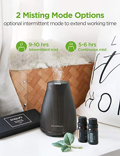 InnoGear Essential Oil Diffuser with Oils, 150ml Aromatherapy Diffuser with 6 Essential Oils Set, Aroma Cool Mist Humidifier Gift Set, Dark
