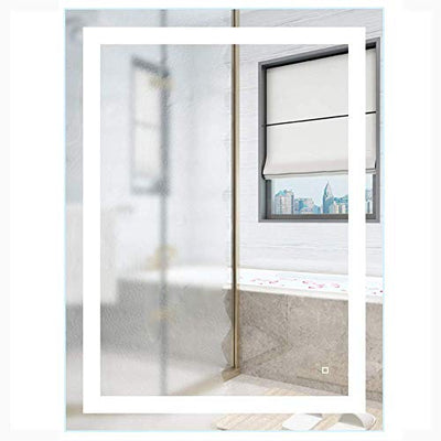 HAUSCHEN HOME 36 x 28 inch LED Lighted Vanity Bathroom Mirror, Wall Mounted + Anti Fog & Dimmer Touch Switch + UL Listed + IP44 Waterproof + 5500K Cool White + CRI>90 + Vertical&Horizontal