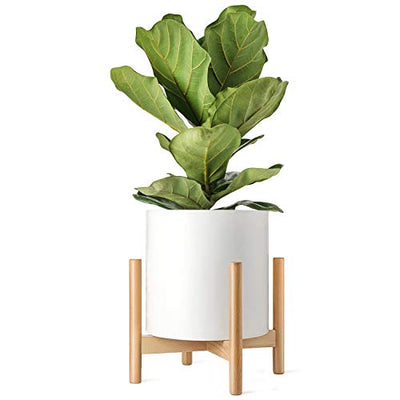 Mkono Plant Stand Mid Century Wood Flower Pot Holder (Plant Pot NOT Included) Potted Stand Indoor Display Rack Rustic Decor, Up to 14 Inch Planter, Natural