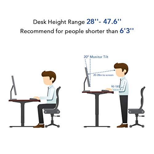 Flexispot Standing Desk, 48 x 24 Inches Height Adjustable Desk, Electric Sit Stand Desk Home Office Desks Whole-Piece Desk Board (Gray Frame + 48 in Mahogany Top)