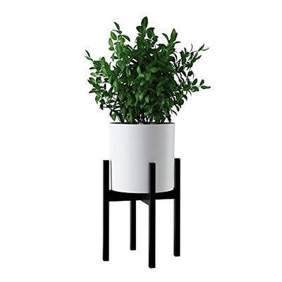 "FaithLand Mid Century Plant Stand Indoor Outdoor (EXCLUDING 10"" Plant Pot), Metal Planter Stand, Potted Plant Holder, Black, Hold Up to 10 Inch Planter - Fits Snake Plant - Upgraded Design"
