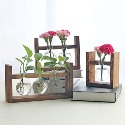 Kingbuy Hydroponic Desktop Glass Flower Pot Bulb Vase with Retro Solid Wooden Stand Small Bench Frame for Hydroponic Plant Family Garden Wedding Decoration(1 Bulb Vase)