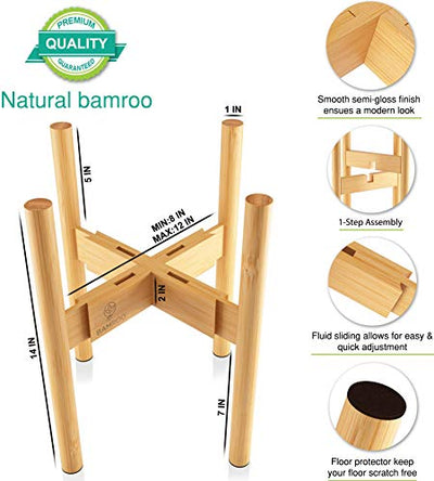 BAMROO Plant Stand Adjustable Mid Century Indoor Plant Stand -Modern Planter Bamboo Plant Stands Indoor Outdoor for Plant Pots - Fits Planter 8 to 12 inches - Excludes Plant Pot (Natural Wood)