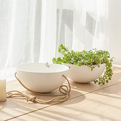 Mkono 9 Inch Ceramic Hanging Planter Indoor Outdoor Modern Round Flower Plant Pot White Porcelain Hanging Basket with Polyester Rope Hanger for Herbs Ferns Ivy Crawling Plants, Set of 2