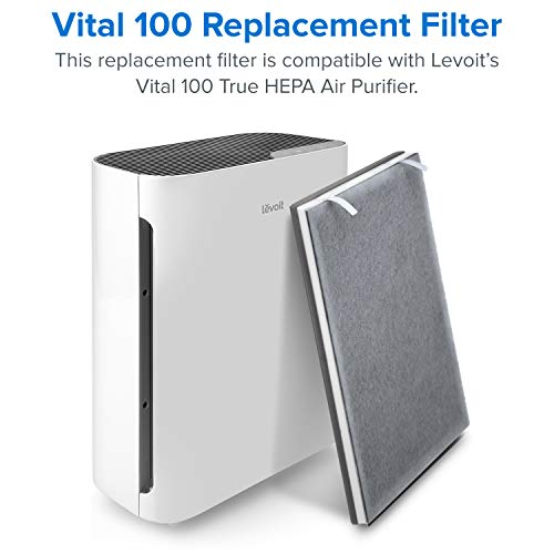 LEVOIT Air Purifier Replacement, True HEPA and High-Efficiency Activated Carbon Filters Set, Vital 100-RF, 2 Pack, 3-in-1, White, 2-Pack