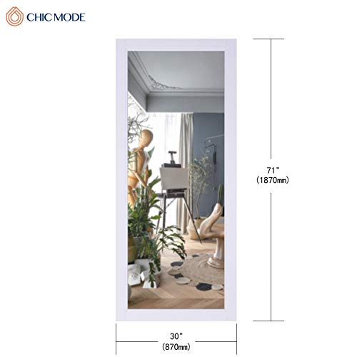 "CHIC MODE White Thick Wooden Frame Full Length Mirror,HD Rectangle Full Body Tall Big Floor Stand Up or Wall Mounted Mirror for Bthroom Bedroom Living Room, 71""x30"""