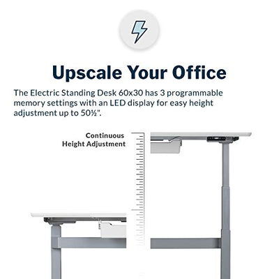 Vari Electric Standing Desk - Sit to Stand Desk - Push Button Memory Settings (60, White w/Crossbar)