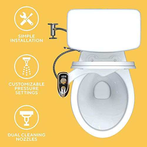 BOOTY BIDET - Non-Electric Bidet Toilet Attachment w/Self-cleaning Dual Nozzle and Easy Water Pressure Adjustment for Sanitary and Feminine Wash,