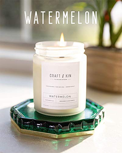 Premium Watermelon Scented Candles, Highly Scented Watermelon Candle, All Natural Soy Candles Scented, 8 oz | 45 Hour Long Lasting Soy Candle, Relaxing Aromatherapy Candles in White Glass Jar