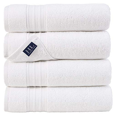 Hammam Linen 100% Cotton 27x54 4 Piece Set Bath Towels White Super Soft, Fluffy, and Absorbent, Premium Quality Perfect for Daily Use 100% Cotton Towels
