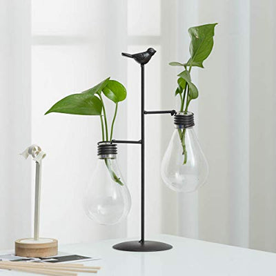 TJ Global Double Glass Light Bulb Vase Planter Holder, Plant Terrarium, Propagation Station, Metal Stand for Hydroponics Plants Home Garden Wedding Decoration Outdoor Planter Ideas Modern Creative