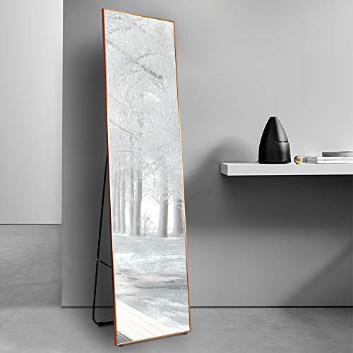 "LVSOMT Full Length Mirror, Wall & Floor Mirror, Standing Mirror, Hanging Mirror, Full Body Mirror Large and Tall, Aluminium Alloy Framed for Bedroom Living Room Locker Room (Gold, 63"" x 15"")"