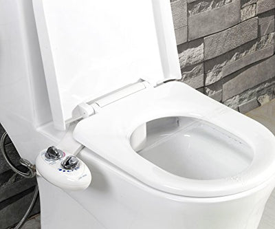 Luxe Bidet Neo 185 (Elite) Non-Electric Bidet Toilet Attachment w/ Self-cleaning Dual Nozzle and Easy Water Pressure Adjustment for Sanitary and Feminine Wash (White and White)