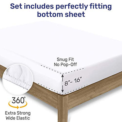 600-Thread-Count Best 100% Cotton Sheets & Pillowcases Set - 4 Pc Pure White Extra Long-staple Combed Cotton Bedding Queen Sheet For Bed, Fits Mattress 16'' Deep Pocket, Soft & Silky Sateen Weave