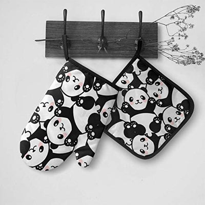 N/O Cute Pandas Heat Resistant Oven Mitts Soft Cotton Lining with Non-Slip Surface for Safe BBQ Cooking Baking Grilling in Family Or Restaurant