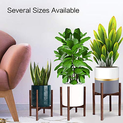"Honest Mid Century Modern Wood Indoor Plant Stand,(Plant and Pot NOT Included) Rustic Wood Flower Pot Holder, (Fits Pots:8""-10"",Dark Brown)"
