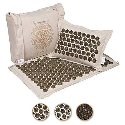 Ajna Acupressure Mat and Pillow Set - Natural Organic Linen Cotton Acupuncture Mat & Bag - Back Pain Relief, Neck Pain Relief, Stress Reliever, Reflexology, Sciatica, Trigger Point Therapy - Eco Luxe