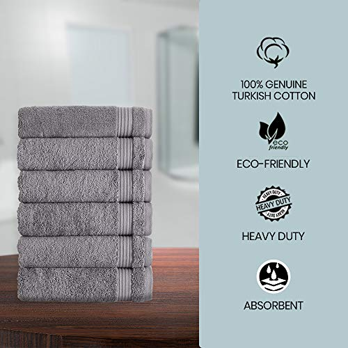 Classic Turkish Towels Luxury Hand Towels - Soft and Plush Hotel and Spa Quality 6 Piece Set Made with 100% Turkish Cotton (Grey)