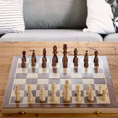 "Chess Armory 15"" Large Magnetic Wooden Chess Set with Felted Game Board Interior for Storage"