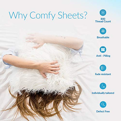 "800 Thread Count 100% Pure Egyptian Cotton – Sateen Weave Premium Bed Sheets, 4- Piece White Queen- Size Luxury Sheet Set, Fits mattresses Upto 18"" deep Pocket"