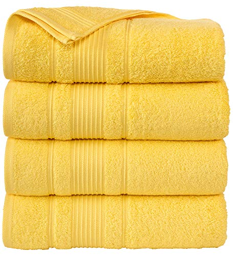 Cappadocia Collection Yellow Bath Towels 4 Piece Set 100% Cotton Luxury Quick Dry Turkish Towels for Bathroom Guests Hot Tub Pool Gym Camp Travel College Dorm Hotel Quality Soft and Absorbent 27
