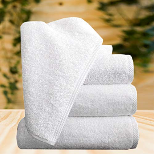 Classic Turkish Cotton Bath Towel Set - Thick and Soft Terry Cloth Hotel and Spa Quality Bath Towels Made with 100% Turkish Cotton (White, 24x48)