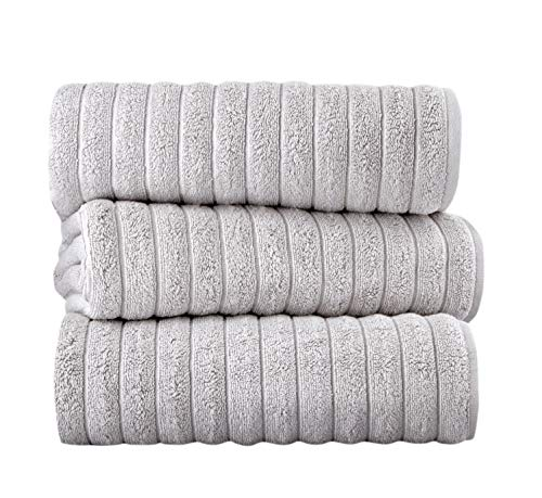 Classic Turkish Towels Luxury Bath Towel Set - Soft and Thick Oversized Ribbed Bathroom Towels Made with 100% Turkish Cotton (Platinum, 40x65 Bath Sheets)