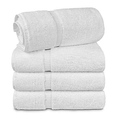 TURKUOISE TURKISH TOWEL % 100 Turkish Cotton Luxury and Super Soft Towels (Bath Towel 4PK, White)