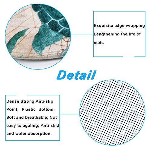 Sea Turtle Shower Curtain Sets with Non-Slip Rugs, Toilet Lid Cover and Bath Mat, Nautical Ocean Shower Curtains with 12 Hook s, Durable Waterproof Bath Curtain