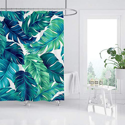 "VIMMUCIR Tropical Shower Curtains, Tropical Palm Leaves Hawaii Jungle Bath Curtains, Waterproof Polyester Fabric Bathroom Decor with Hooks Set, Turquoise and Green (72"" W x 72"" H)"