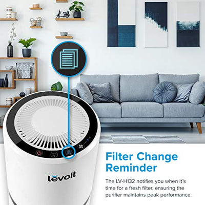 LEVOIT H13 True HEPA Filter Air Purifiers for Allergies and Pets, Smokers, Smoke, Dust, Mold, and Pollen, Cleaner for Bedroom, Large Room with Optional Night Light, LV-H132, White