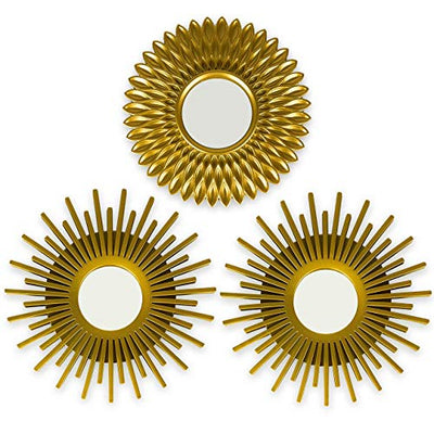BONNYCO Gold Mirrors for Wall Pack of 3 Wall Mirrors for Room Decor & Home Decor | Gold Round Mirrors for Wall Decor | Circle Mirrors Modern Wall Decor Gifts for Women & Moms | Decorative Mirrors