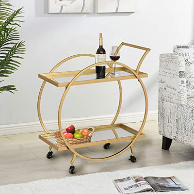 FirsTime & Co. Gold Odessa Bar Cart, American Crafted, Gold, 28 x 14 x 32, (70123)