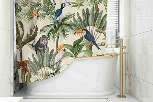Tooperue Shower Curtain for Bathroom with Hooks Pattern with Exotic Trees and Animals 78×72 Inch,Eco-Friendly,No Oder,Waterproof,Peach Orange