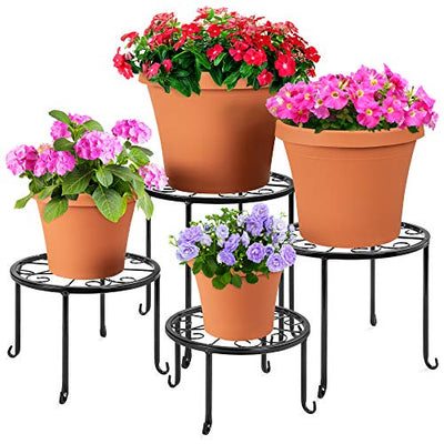Best Choice Products Set of 4 Indoor Outdoor Metal Plant Stands, Flowerpot Holders for Home & Garden w/Starburst Design